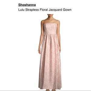 Shoshanna strapless floral blush gown